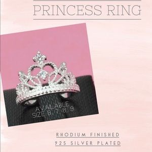 Jewelry - Rhodium Princess/Crown Ring- Silver 925 Plated